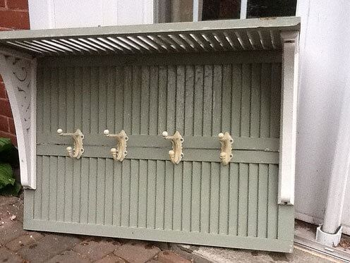 Coat rack shelf made from shutters