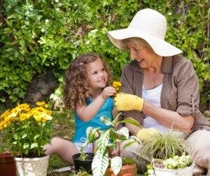 grandmother and child gardening