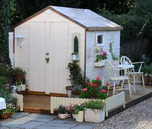 cream garden shed