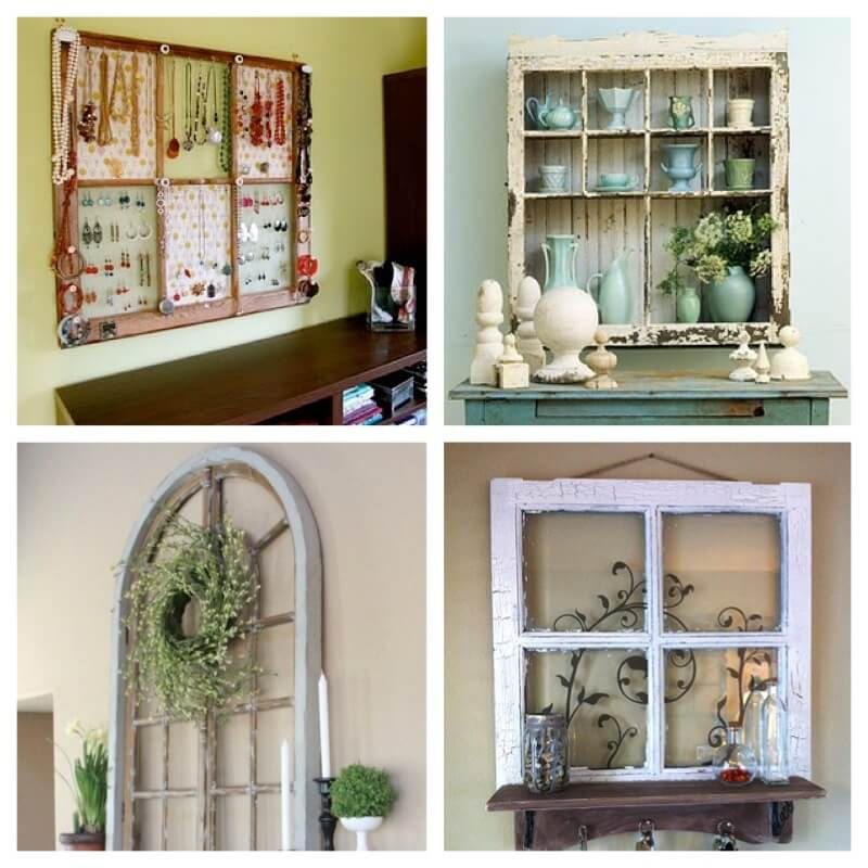 Salvaged windows turned into general decor
