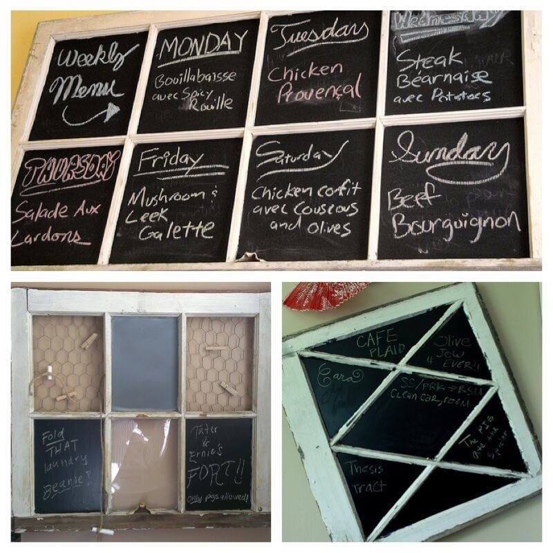 salvaged window made into chalkboard