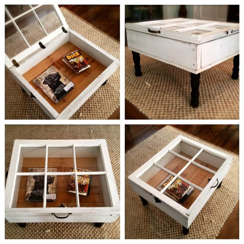 salvaged window turned into table