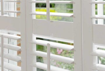 open plantation shutters