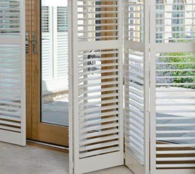 patio door white shutters
