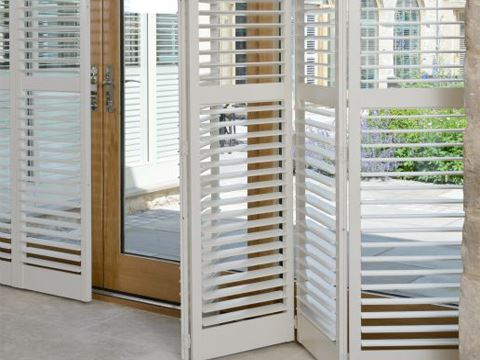 patio door white shutters