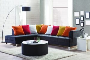 sofa with colourful cushions